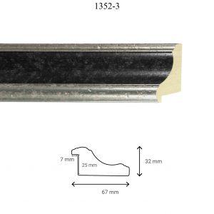 Moldura Lisa de Perfil 1352, en acabado PLATA NEGRO. Tamaño de la moldura 67mm x 32mm. Rebaje de 25mm x 7mm.