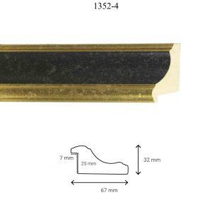 Moldura Lisa de Perfil 1352, en acabado ORO NEGRO. Tamaño de la moldura 67mm x 32mm. Rebaje de 25mm x 7mm.