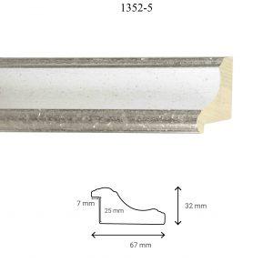 Moldura Lisa de Perfil 1352, en acabado PLATA BLANCO. Tamaño de la moldura 67mm x 32mm. Rebaje de 25mm x 7mm.
