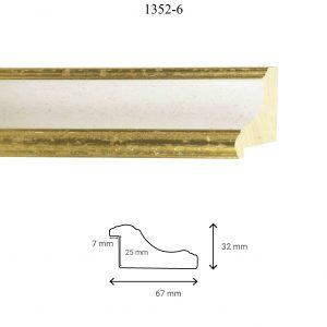 Moldura Lisa de Perfil 1352, en acabado ORO BLANCO. Tamaño de la moldura 67mm x 32mm. Rebaje de 25mm x 7mm.