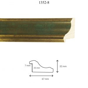 Moldura Lisa de Perfil 1352, en acabado ORO VERDE. Tamaño de la moldura 67mm x 32mm. Rebaje de 25mm x 7mm.