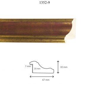 Moldura Lisa de Perfil 1352, en acabado ORO ROJO. Tamaño de la moldura 67mm x 32mm. Rebaje de 25mm x 7mm.