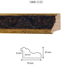 Moldura Grabada de Perfil 1408, en acabado ORO NEGRO. Tamaño de la moldura 70mm x 35mm. Rebaje de 26mm x 6mm.