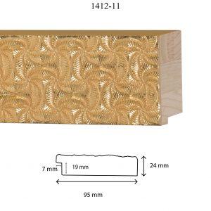 Moldura Grabada de Perfil 1412, en acabado ORO. Tamaño de la moldura 95mm x 24mm. Rebaje de 19mm x 7mm.