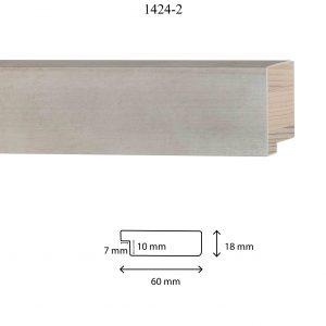 Moldura Lisa de Perfil 1424, en acabado PLATA. Tamaño de la moldura 60mm x 18mm. Rebaje de 10mm x 7mm.